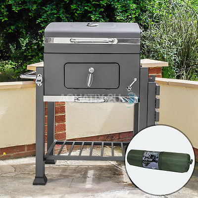 Deluxe Charcoal Bbq Grill Large Outdoor Barbeque With Cover Stainless Steel