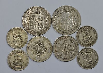 Great Britain, George V, Silver Lot (Shil-Florin-1/2 Crown)
