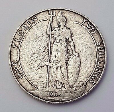Dated : 1909 - Silver Coin - Two Shillings / One Florin - King Edward VII