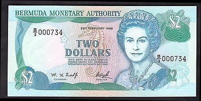 Bermuda. Two Dollars. B/3 000734,  29-2-1996, Almost Uncirculated-Uncirculated.