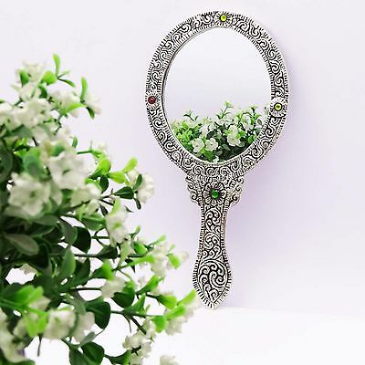Make Up Mirror Decorative Art Vanity Antique Style Oval Metal Hand Held Mirror