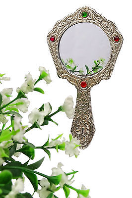 Oxidized Silver Hand Mirror Metal Make Up Held Antique Decorative Art Vanity