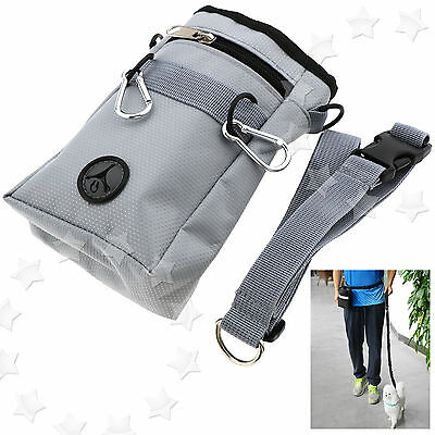 Gray Puppy Pet Dog Obedience Training Treat Food Pouch Bag Feed Bait Snack Belt