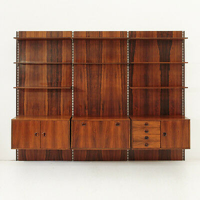 Libreria modulare in palissandro anni 60, mid century wall unit rosewood parisi