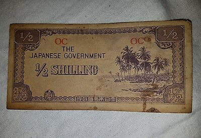JAPANESE GOVERNMENT 1/2 Half Shilling WWII BANKNOTE Invasion Money