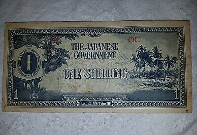 JAPANESE GOVERNMENT One Shilling WWII NOTE Invasion Money