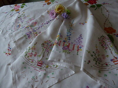 Vintage Hand Embroidered Linen Tablecloth=Beautiful Delicate Embroidery