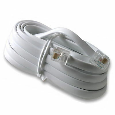 5m 6 Pin 6 Core RJ11 to RJ11 6P6C Telephone Cable Lead. Crossed pins. White