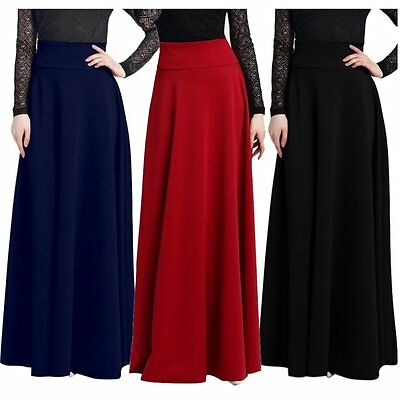 Women Long Gypsy High Waist Maxi Skirt Stretch Full Length Skirts Dress Oversize
