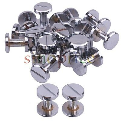 20pcs Silver Chrome Plated Flat Head Button Brass Studs Screwback Leather Belt