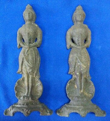 Antique Cast Iron Buddah Buddhist Woman holding Torch Andirons