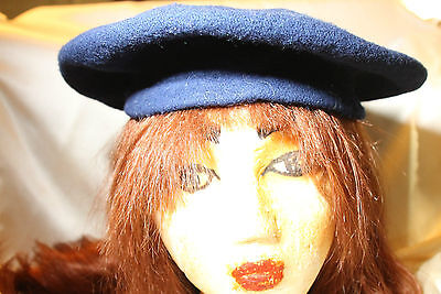 Vintage Beret Hat Czechoslovakia 100% Wool Navy Beautiful Look!!