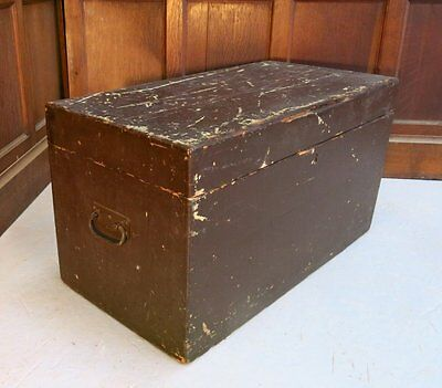 Old Antique Brown Painted Pine Box Chest