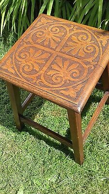 Antique Arts and Crafts period fine pokerwork oak side table plant stand marked