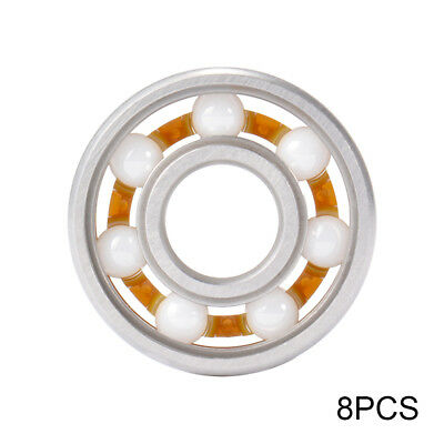 8x 7-Ball Ceramic Hybrid 608 Bearing Replacement for Skateboard Stunt Scooter