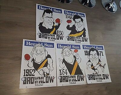 Weg Poster Set Richmond Tigers X 5 1930 ~ 1971 Brownlow Weg Set All Same Number