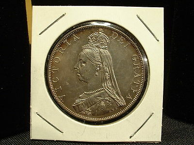 1887 United Kingdom Double Florin-Choice Uncirculated Silver Coin! Scarce!