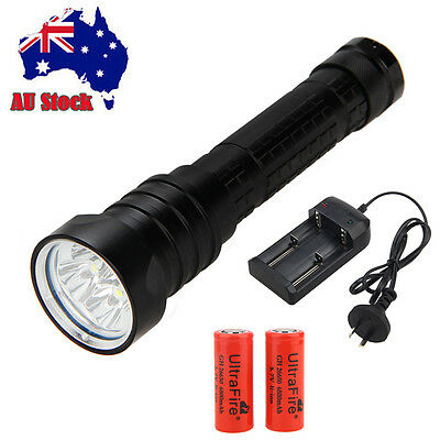 Underwater 200M 10000LM 4x XM-L2 LED Scuba Diving Flashlight Torch 26650 Lamp