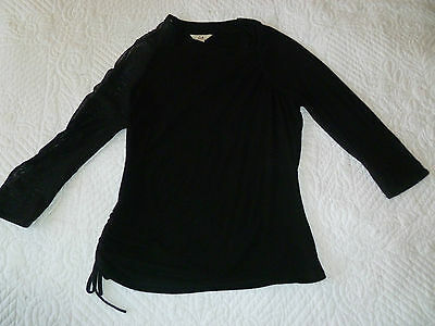 Cue Black Fitted Top Mesh Sleeve Size Medium Never Worn