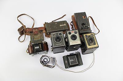 Collection of Vintage KODAK, ZEISS etc Mixed Cameras & Light Meter, Some Cases