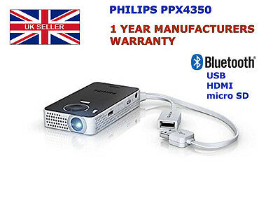PHILIPS PicoPix PPX4350/INT POCKET PROJECTOR Portable Travel Bluetooth HDMI USB