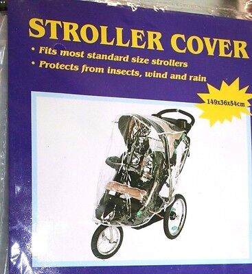Baby Stroller Universal Transparent Rain Wind Snow Cover Fits Most Velcro Tabs