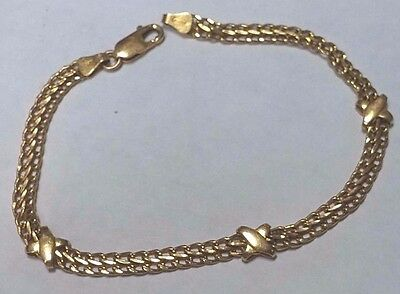 4 Gram Solid 14K Yellow Gold 4 Mm Wide Double Link 'x' Station Bracelet