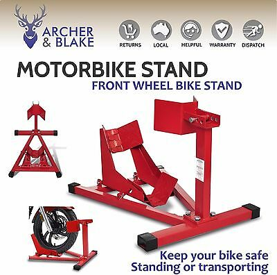 Motorcycle Motorbike Front Wheel Parking Cradle Chock Clamp Holder Support Stand