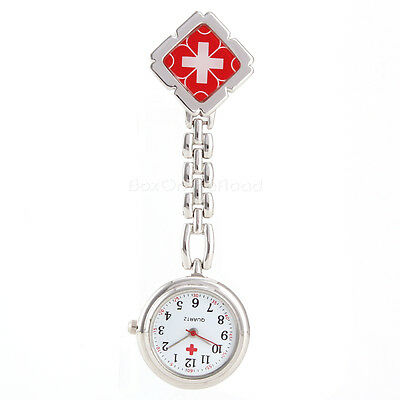 Nurse Doctor Fob Watch Stainless Steel Quartz Clip On Brooch Medical Pendant