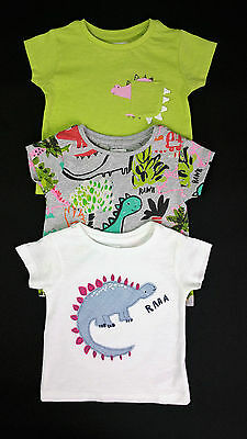 Baby Girls NEXT 3 Pack Applique T-Shirts DINOSAURS Age 3-6 6-9 & 12-18 Mths BNWT
