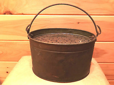 """Antique Copper Minnow or Bait Bucket Oval Size 12"""" by 8.5"""""""