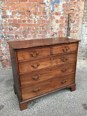 Antique Georgian Mahogany Five Drawer Bedroom Cehst - Chest Of Drawers