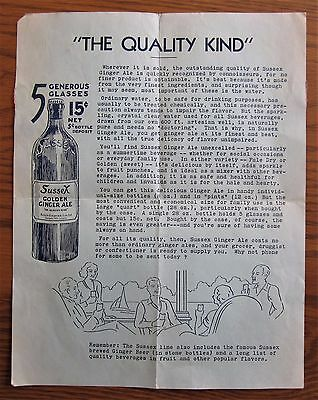 Rare 1920's Sussex Ginger Ale Advertising Letter New Brunswick Canada Soda