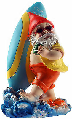 Large 25 cm Cool Dude Gnome Garden Ornament - Surfing / Beer Design