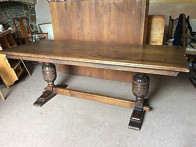 Large Vintage Farmhouse Antique Oak Priory Wooden Dining Kitchen Table