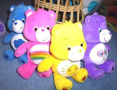 Modern Care Bear Collection 4 X Small Care Bears Pink, Blue,yellow & Purple