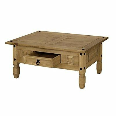 Coffee Table Rustic Pine Wooden With Drawer For Storage Mexican Style