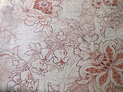 Antique French Large Scale Floral Cotton Fabric ~ Mauve Purple Terra Cotta Gray