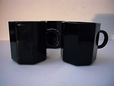"Vtg Arcoroc Octime Octagonal Black 3 x 3"" Tall Mugs Cups France"