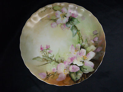 "Antique Hand Painted Elite Limoges Floral Plate 8.5"" Signed NAC 1901"