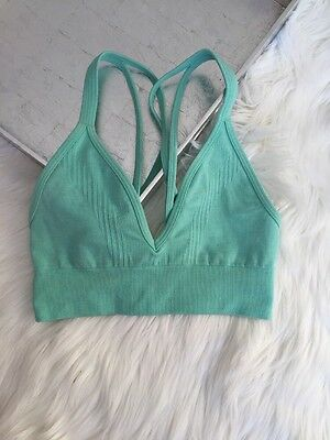 Mint Green Lululemon Seamlessly Plunge Bra Top Yoga Heathered Opal