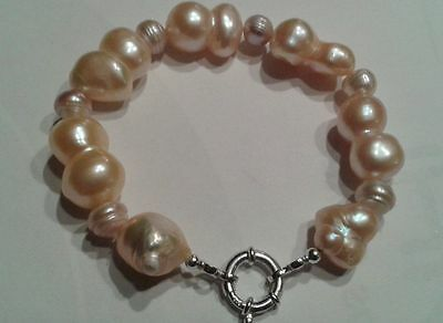 """MINAS Vintage Pink Chunky Nucleated & Baroque Pearl Sterling Silver Bracelet 8"""""""