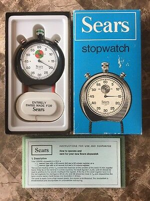 Vintage Sears Swiss Shock Resistant 1/5th Stopwatch w/ Original Box & Manual