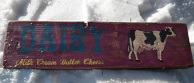 Wooden Hand Painted Milk Butter Cheese Dairy Cow Red Sign Primitive Farm Rustic