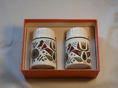 Vintage Retro Palissy Salt and Pepper Pots, Boxed