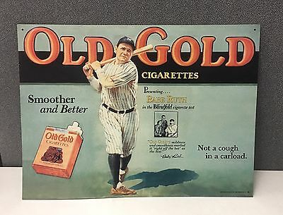 """Babe Ruth Metal Sign Old Gold Cigarette Ad 16.5""""x12"""" '90 Repro New York Yankees"""