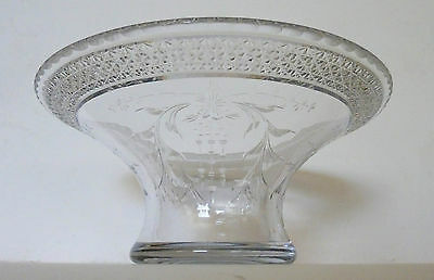 Exceptional Hawkes Fluted Bowl with Cut and Engraved Designs, Signed--Circa 1900