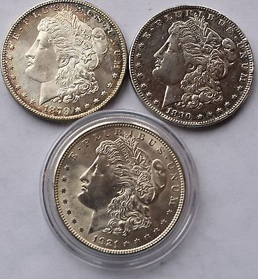 Lot Of United States Morgan Dollar Coins 1879 S 1890 O 1921