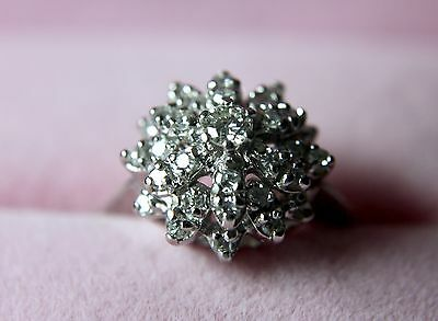 14k White Gold Diamond Cluster Ring with Appraisal @ $3000.00