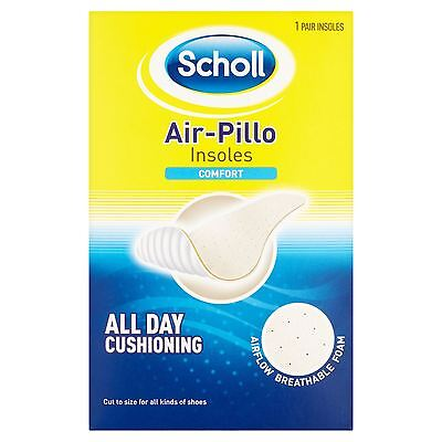 Scholl Air Pillo Comfort Shoe Insoles Cut To Foot Size Unisex Breathable 1 Pair